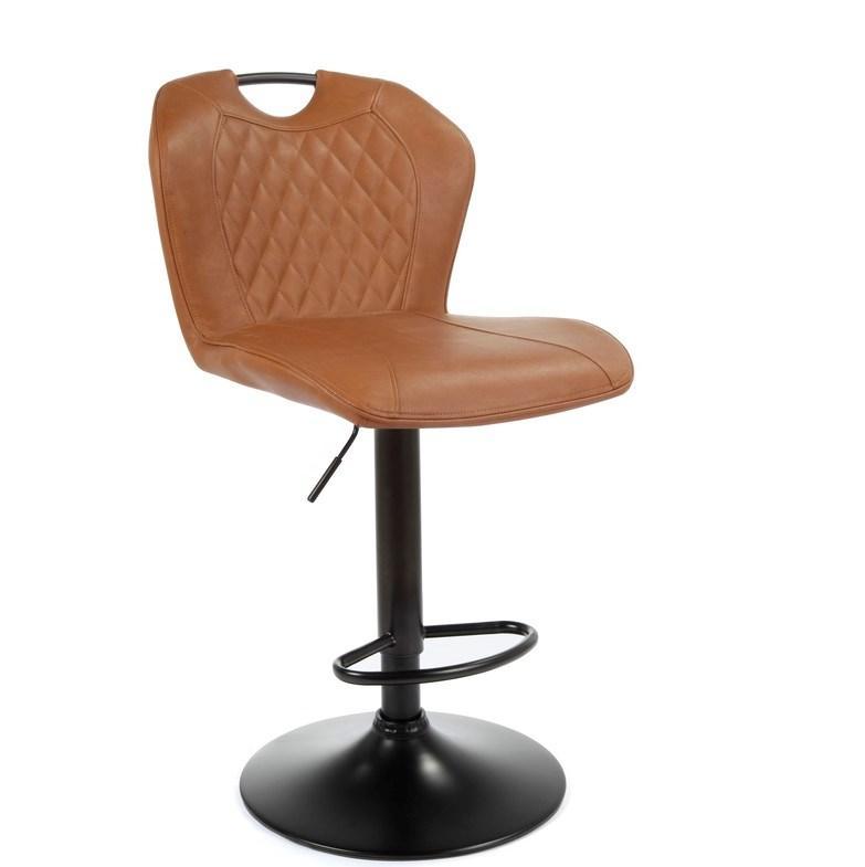 Барный стул с ручкой B-102 бренди (коричневвый) нубук от Vetro Mebel на черной ноге
