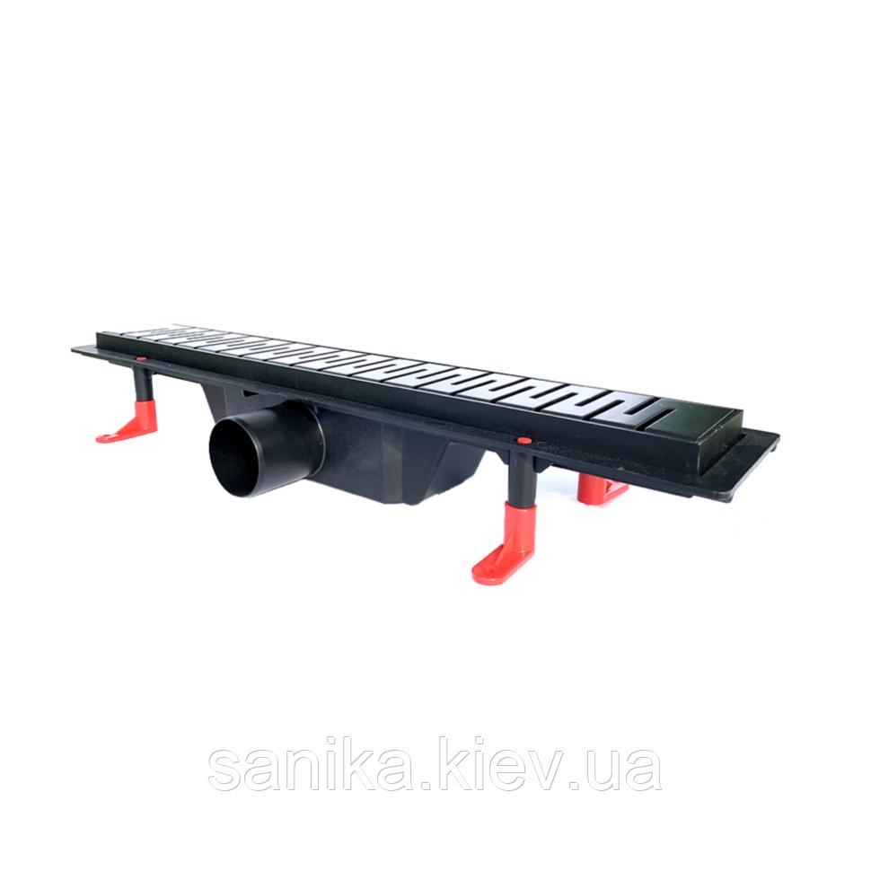 Чёрный душевой канал Styron с сухим сифоном и решеткой Медиум 500 мм