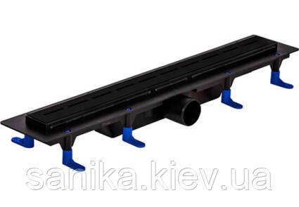 Чёрный душевой канал Styron с сухим сифоном и полированной решеткой Линии 600 мм