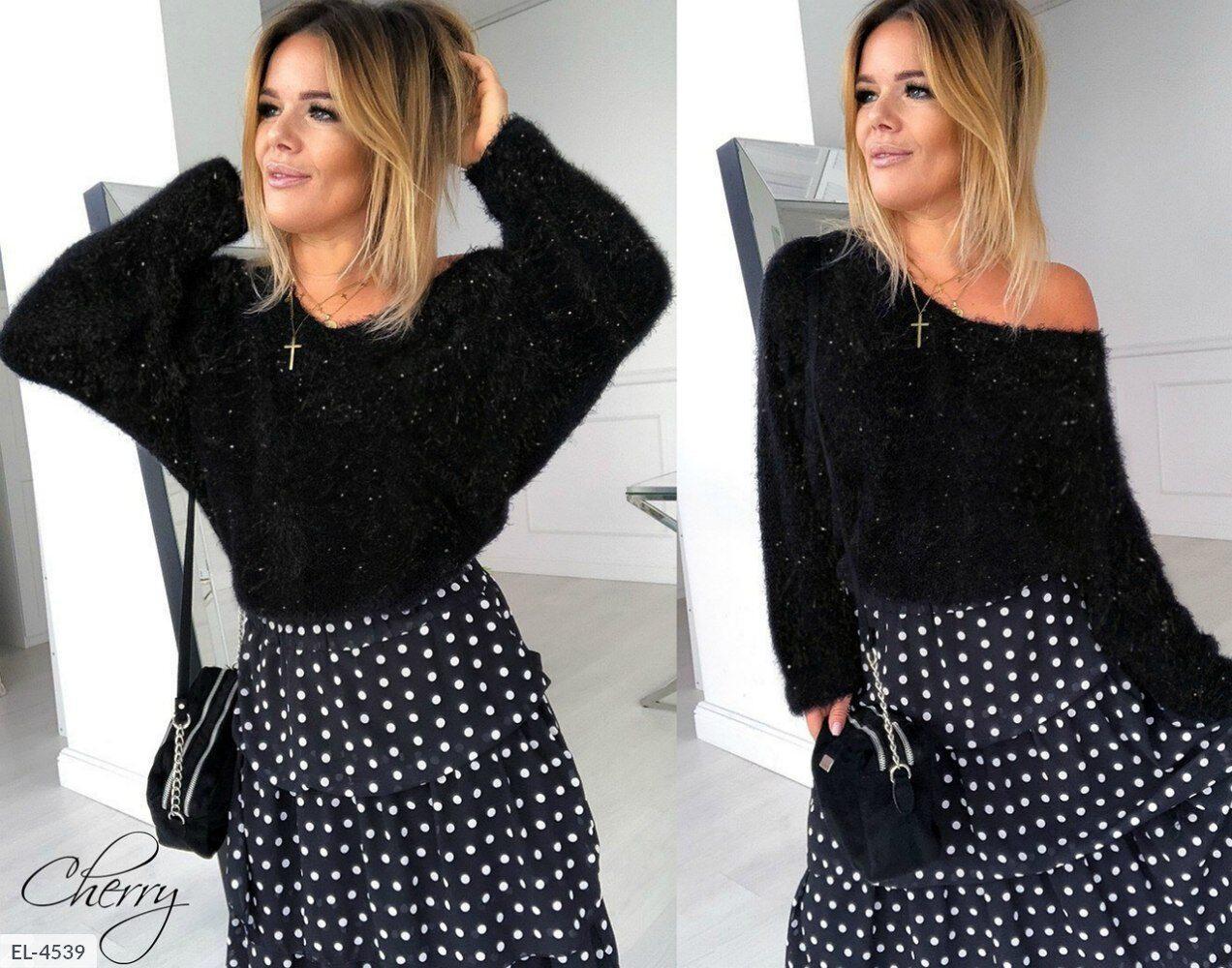 Женская стильная кофта, красиво переливается. Размер: 42-46. Ткань: травка. Цвет: черный.