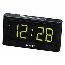 Годинник мережеві VST-732Y-4, зелені, температура, USB