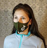 Маска детская подростковая Tik Tok Тик Ток многоразовая защитная Питта ткань Хаки темно-зеленый