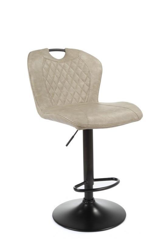Барный стул с ручкой B-102 бежевый антик нубук от Vetro Mebel на черной ноге