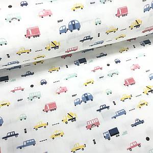 Ткань муслин Двухслойная машинки мелкие желтые, розовые, голубые на белом (шир. 1,6 м)