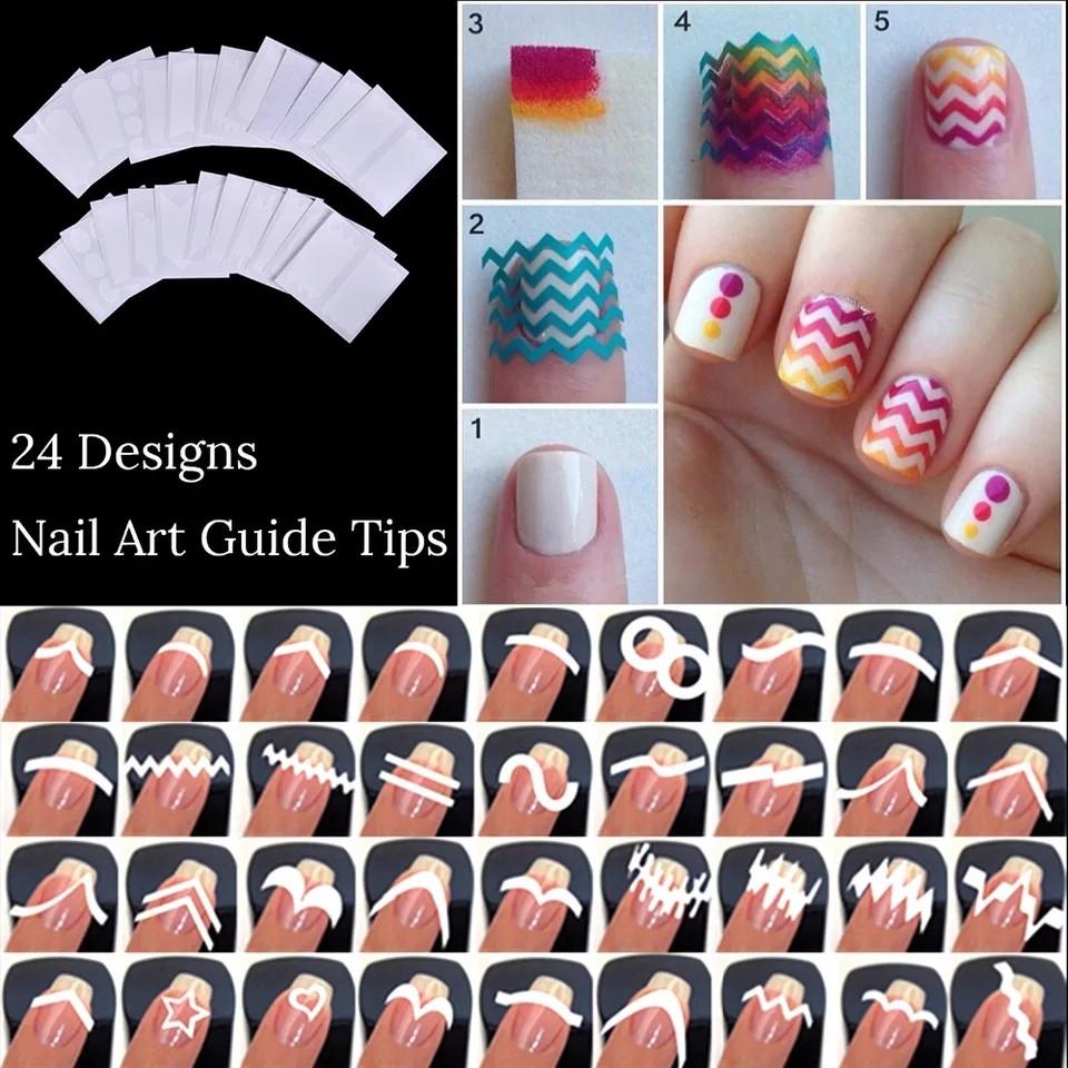 Трафарети для французького манікюру та дизайну нігтів 24шт