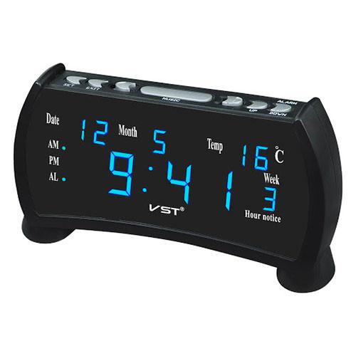 Часы сетевые VST-761WX-5, синие, температура, 220V