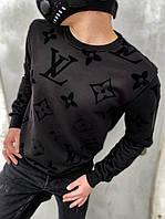 "Свитшот Louis Vuitton черный монограмм|Свитер мужской женский Луи Виттон с логотипами ""LV"""