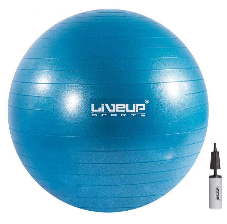 Фитбол с насосом LiveUp ANTI-BURST 55 см синий для фитнеса, тренировок (LS3222-55b)