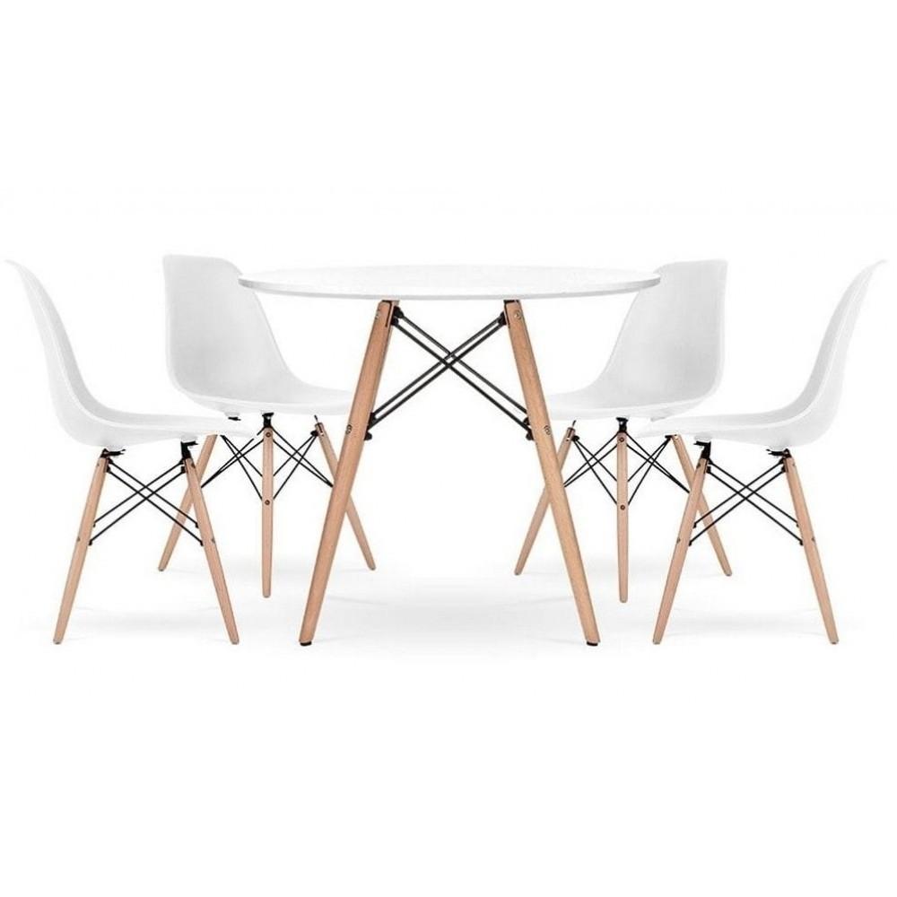 Столик кухонный обеденный Bonro В-957-700 70х72 см + 4 белых кресла B-173