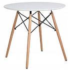 Столик кухонный обеденный Bonro В-957-700 70х72 см + 4 белых кресла B-173, фото 2