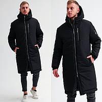 Длинная мужская зимняя парка, теплая модная куртка, черная