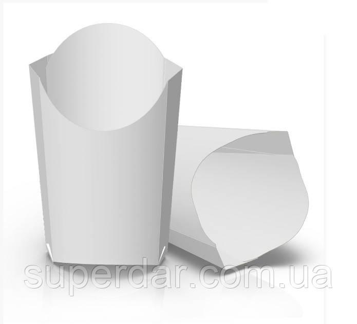 Упаковка  90х35х145 мм для картофеля фри Макси, Белая (ящ.: 1250 шт)