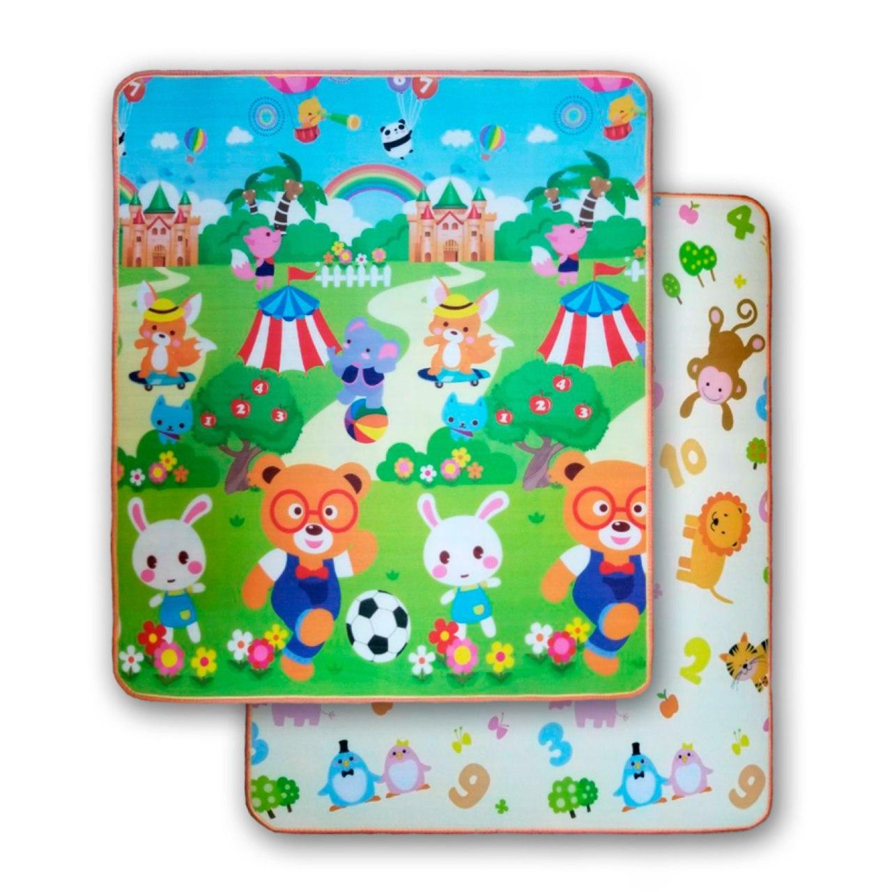 Детский термо-коврик каремат игровой развивающий двухсторонний для игр 10мм ПВХ  1,8 х 1,5 м