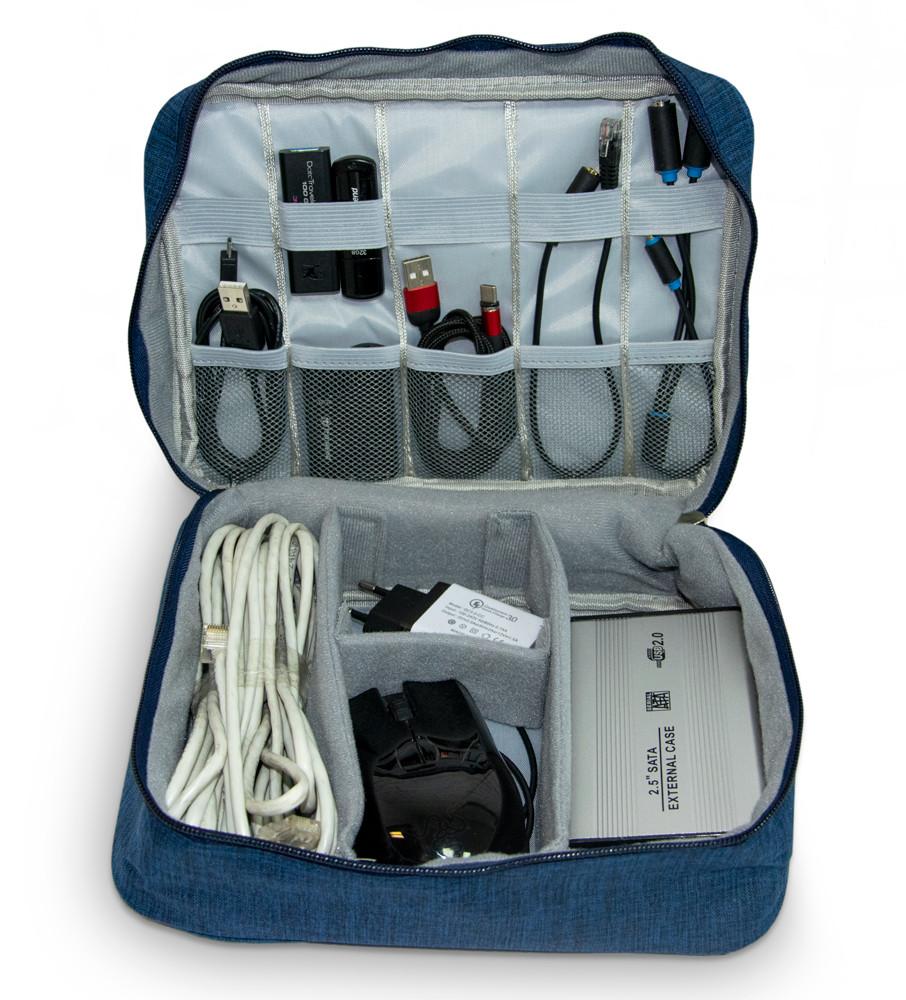 Сумка органайзер для кабелів синя, органайзер для зберігання проводів, зарядок з доставкою по Україні