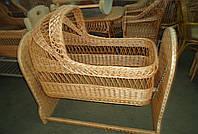 Люлька-кровать детская с плетенным основанием, с капюшоном