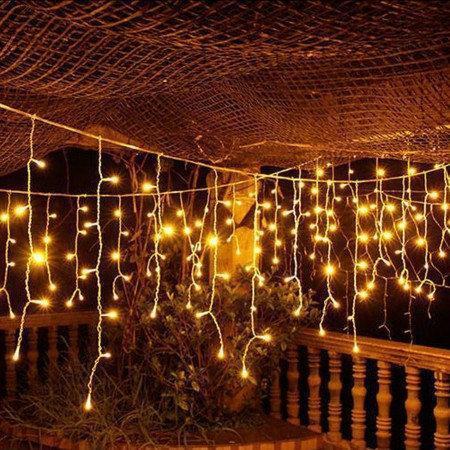 """Внешняя LED гирлянда Бахрома """"Icicle"""" 5 метров Теплый Белый, 100 Ламп белый провод каучук пвх, 8 режимов"""