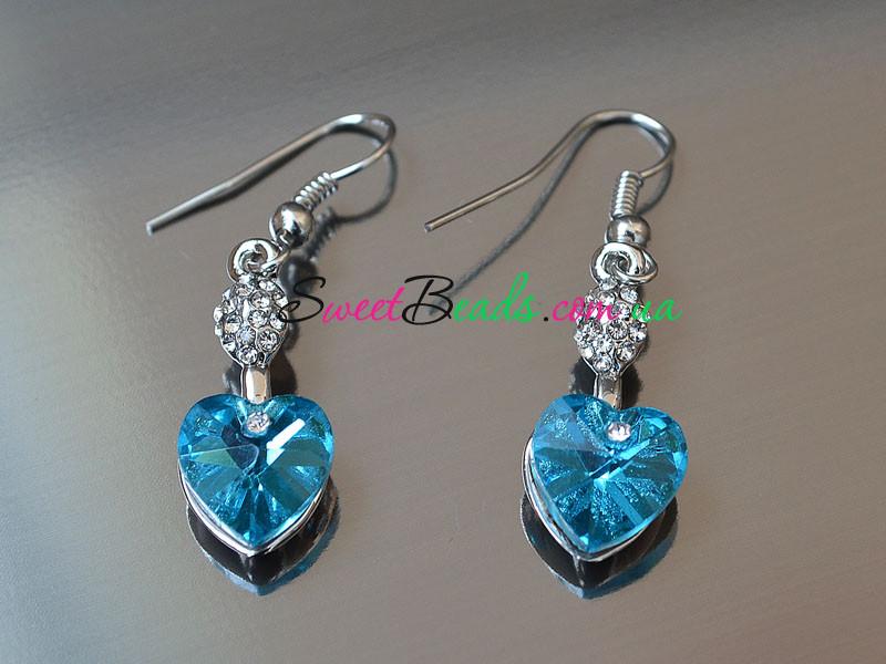Сережки Серце кристал, аквамарин
