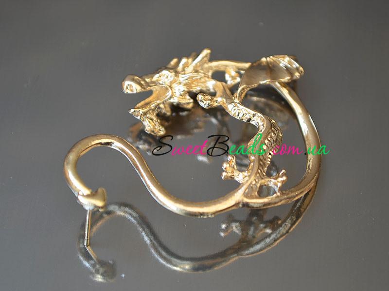 Серьги-каффы Дракон, золото