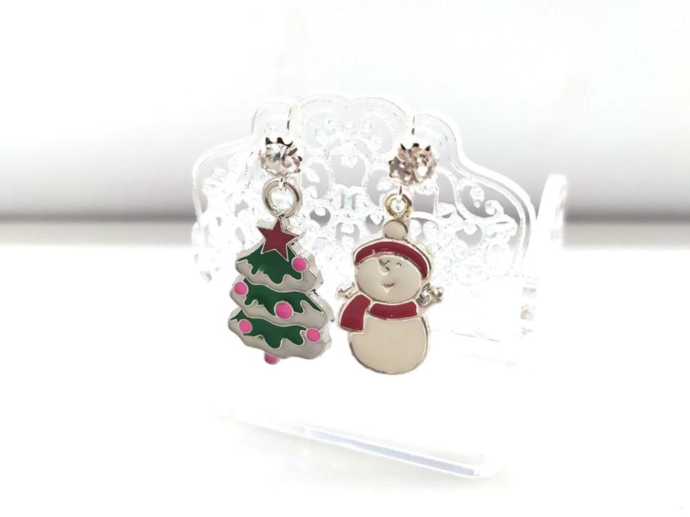 Новорічні сережки #1 - Сніговик + Ялинка