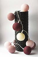 Хлопковая гирлянда Тайские радужные чудо-фонарики Винная  Wine/Red 35 шт., фото 1