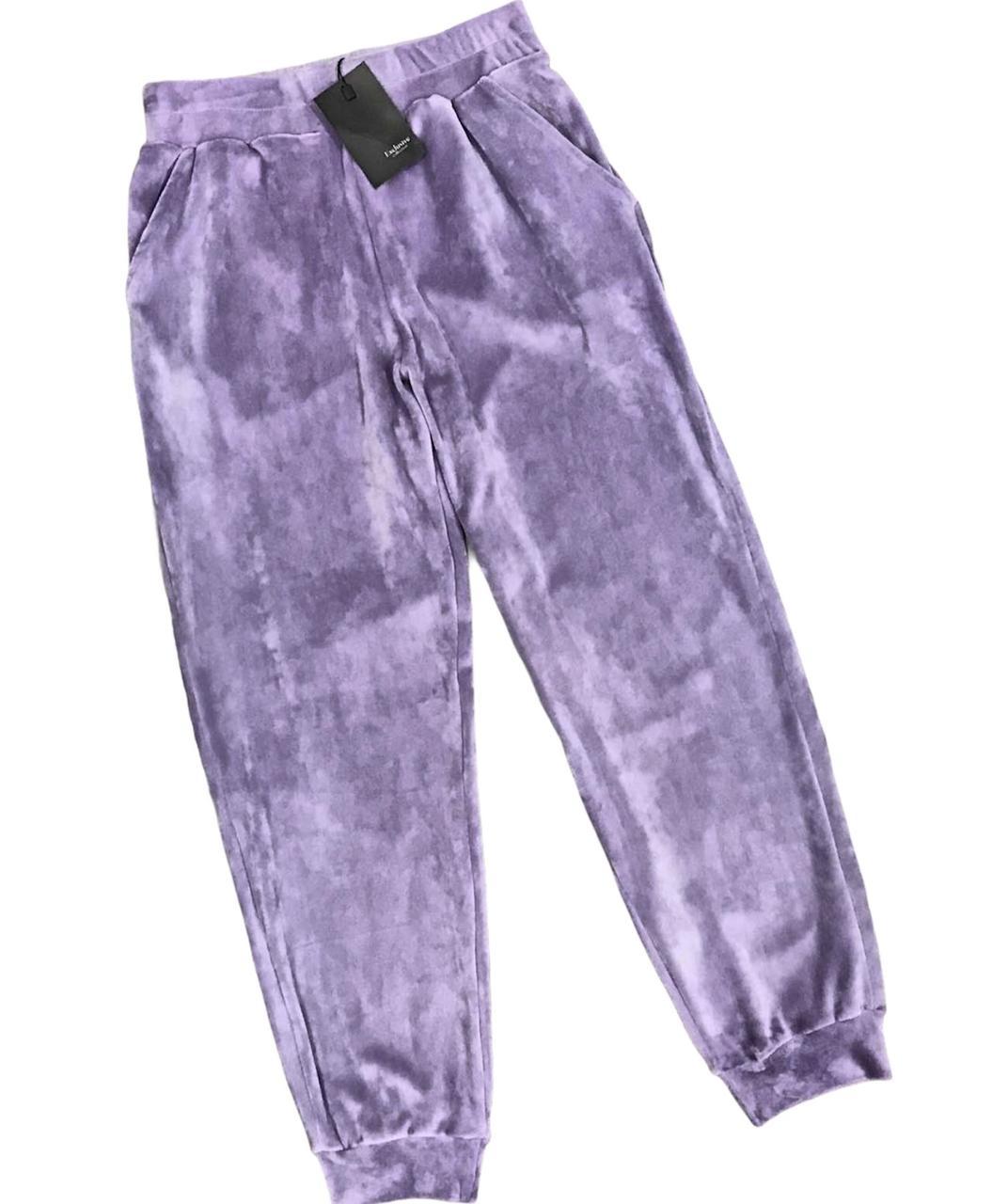 Женские штаны для дома велюровые с карманами- лаванда.