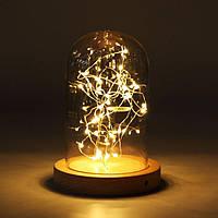Светильник-ночник led настольный гирлянда под стеклянным куполом (124002) Дизайнерский подарок на Новый год