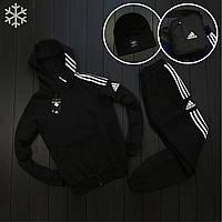 Зимний спортивный костюм мужской Adidas черный до - 25*С   Кофта + Штаны трехнитка Адидас ЛЮКС качества
