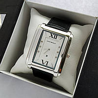 Мужские наручные часы Emporio Armani (армани) на кожаном ремешке, серебро, белый циферблат - код 1802