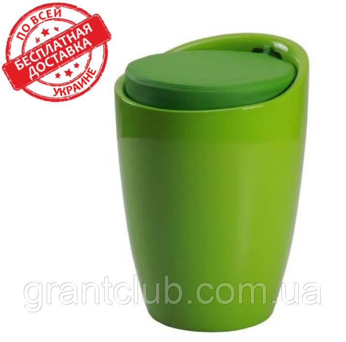 Пуф TWEET зелёный пластиковый с подушкой кожзам AMF