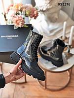 Женские демисезонные ботинки Balenciaga (черные/лакированные) KS 1576