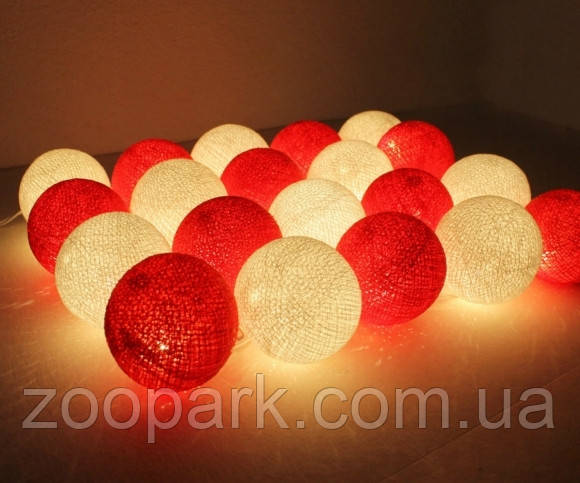 Хлопковая гирлянда Тайские радужные чудо-фонарики Красно-белая White/Red 35 шт.