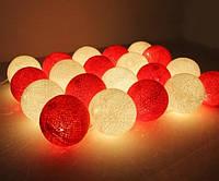 Хлопковая гирлянда Тайские радужные чудо-фонарики Красно-белая White/Red 35 шт., фото 1