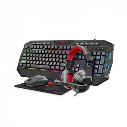 Комплект (клавиатура, мышь, коврик, наушники) Havit KB501CM (25538) Black/Grey USB, фото 2