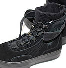 Демисезонные женские спортивные ботинки черные из натуральной замши на платформе, фото 8
