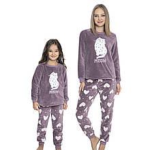 Family look одинаковые пижамы для мамы и дочки турецкие, домашние костюмы Meow