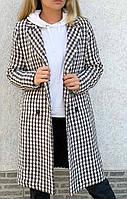 Жіноче пальто в гусячу лапку на гудзиках Коричневий