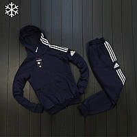 Мужской утепленный спортивный костюм Adidas темно-синий