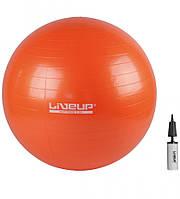 Фитбол 65 см с насосом LiveUp Анти-Взрыв оранжевый для фитнеса, тренировок (LS3222-65o)