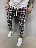 Мужские спортивные штаны в клетку зауженные Молодежные клетчатые серые штаны зауженные
