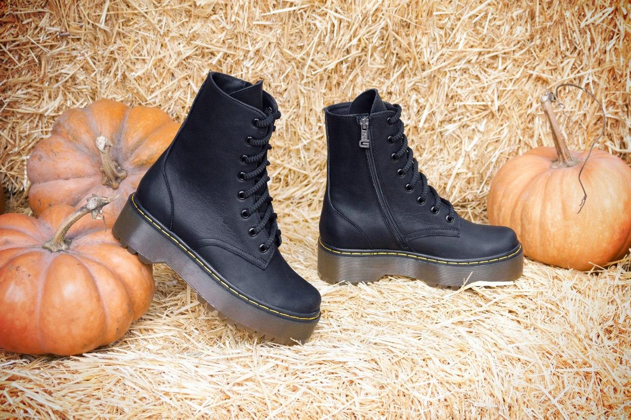 Женские ботинки черные на шнуровке в стиле Dr. Martens
