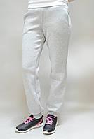 Спортивные штаны теплые светло-серые на манжетах