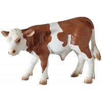 Фигурка Schleich Коричнево-белый теленок симментальской породы (13642)