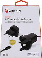 Griffin СЗУ Wall Charger 1А c фиксированным lightning для iPhone/iPod (EU/UK вилка) GA36560
