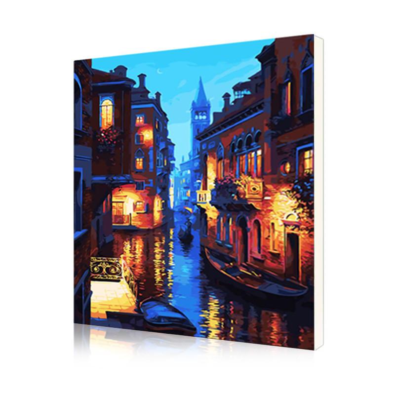 """Картина по номерам Lesko DIY E885 """"Ночная Венеция"""" набор для творчества на холсте 40-50см рисование"""