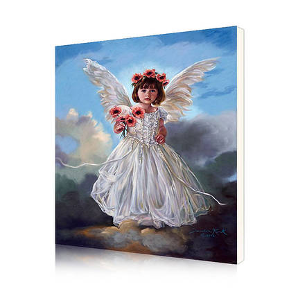 "Картина по номерам Lesko DIY Y5843 ""Ангел и цветы"" набор для творчества на холсте 40-50см рисование, фото 2"