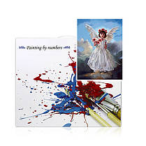 "Картина по номерам Lesko DIY Y5843 ""Ангел и цветы"" набор для творчества на холсте 40-50см рисование, фото 3"