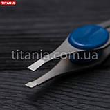 Пинцет косметический скошенный узкий из нержавеющей стали INOX TITANIA art.1090/60 В, фото 6