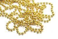 Бусы на елку, пластик 6мм*15м, золото (890100)
