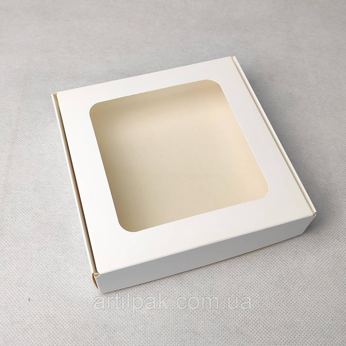 Коробка 150*150*35 з вікном БІЛА