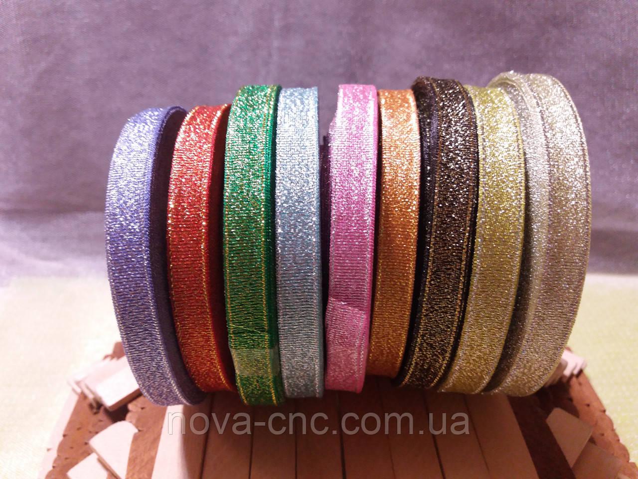 Ленты парча 10мм 23м Цвет сиреневый, красный, зеленый, голубой, розовый, оранжевый, черный, золото, серебр